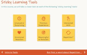 Sticky Learning Course - Tools for Application Screen